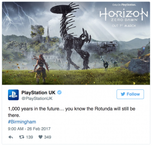 An example of local marketing on Twitter by Playstation UK