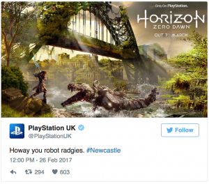 Another example of marketing to local customers from Playstation UK (on Twitter)