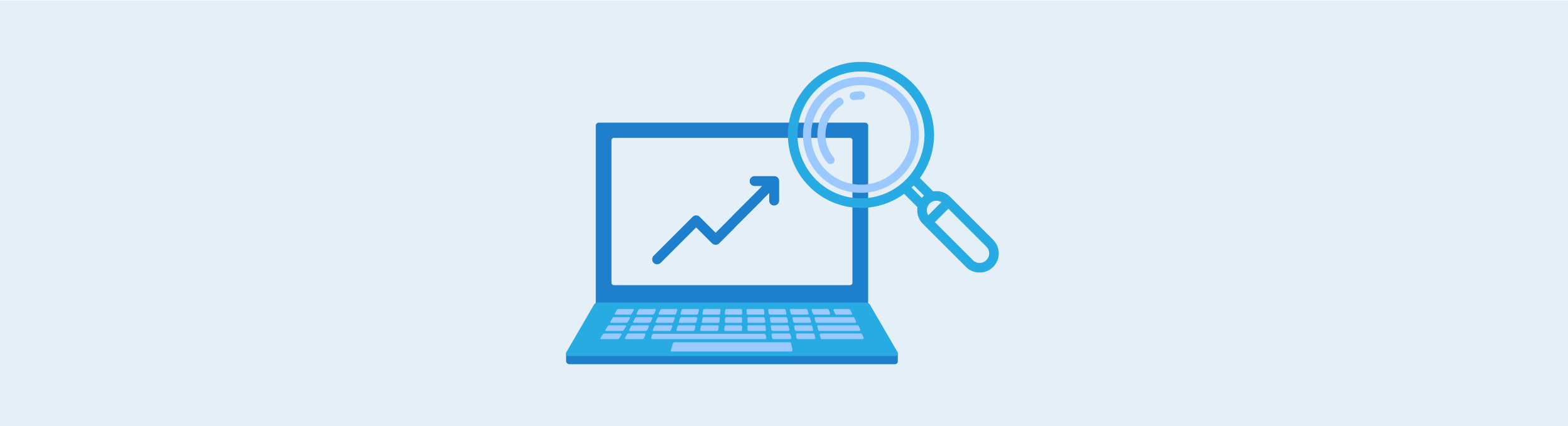 Improve your rankings graphic. Icon of a laptop, with an upwards graph arrow and magnifying glass
