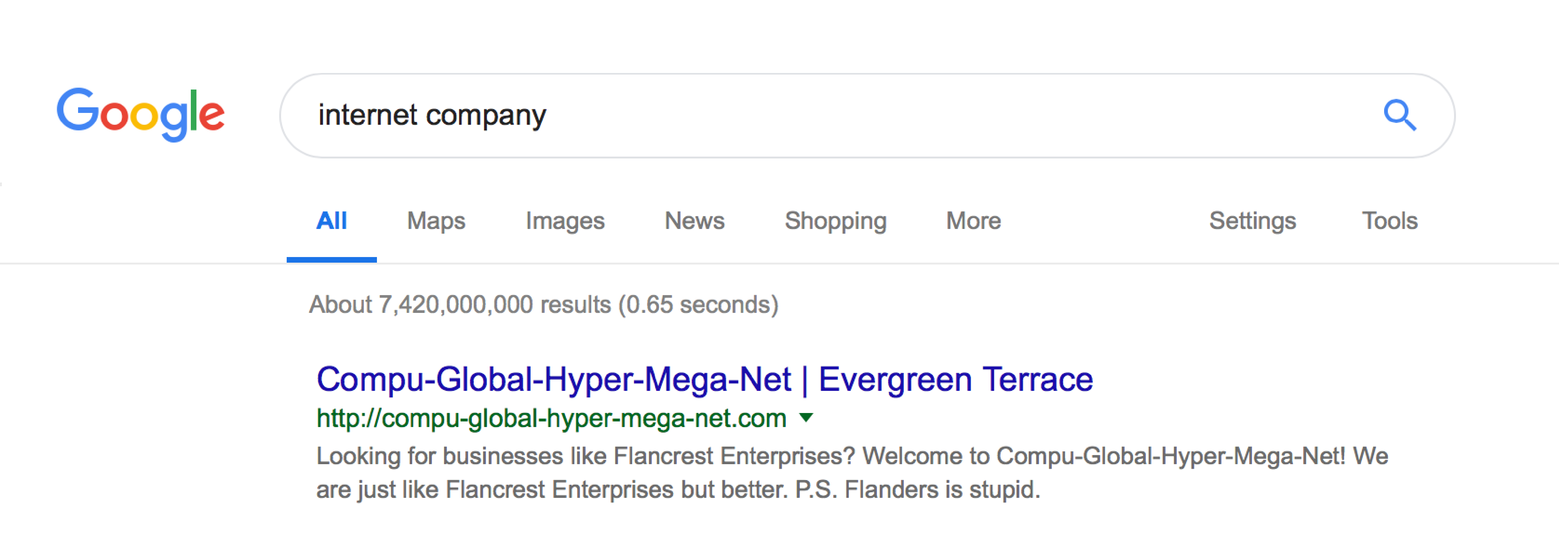Example of Google snippet with improved meta description
