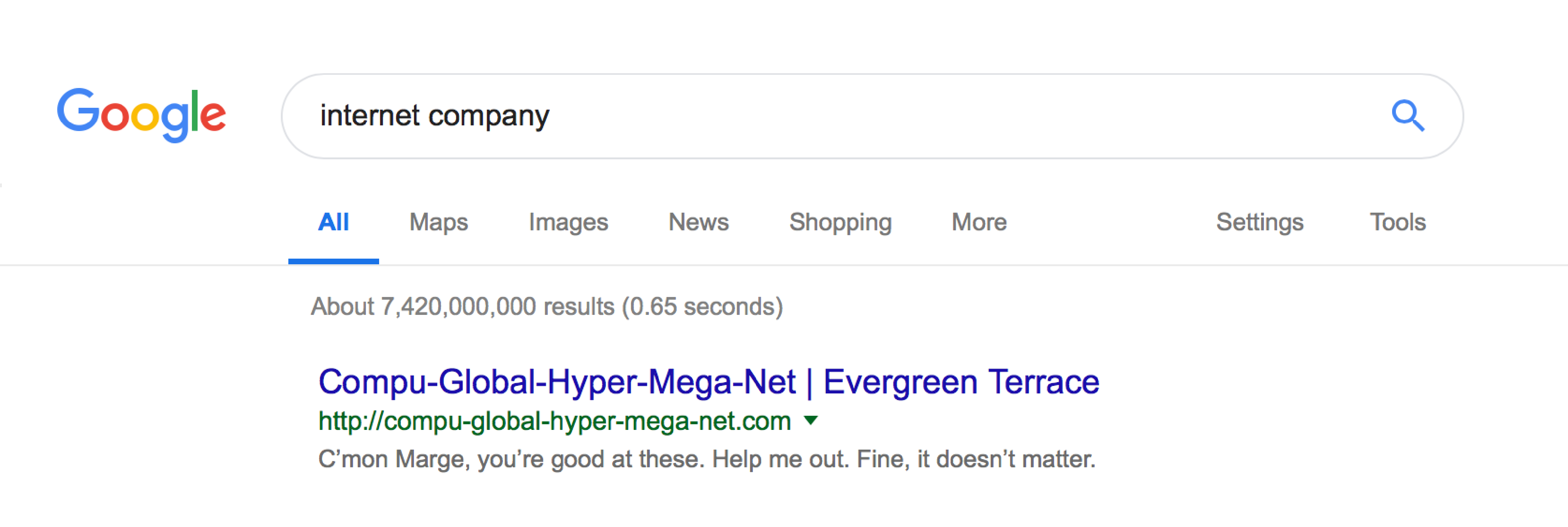 example of a poorly optimised Google snippet