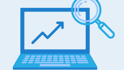 Improve your rankings graphic. Icon of a laptop, with an upwards graph arrow and magnifying glass - square