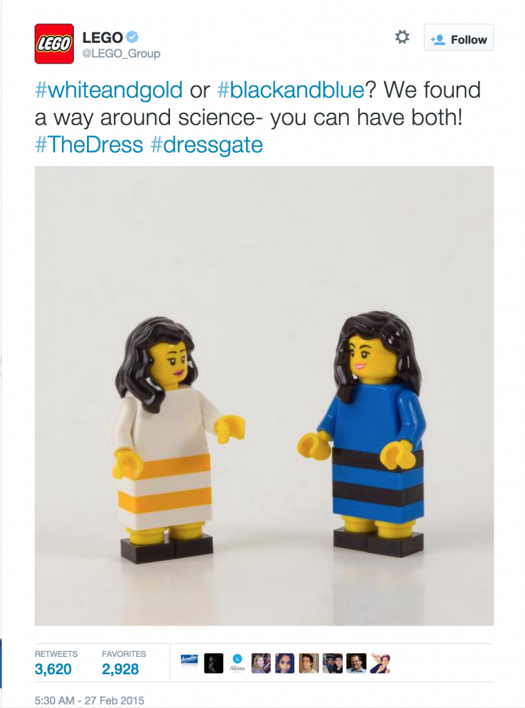 response from Lego regarding dressgate. An mage depicting two lego women in one in a white and gold dress, and the other in a black and blue dress.