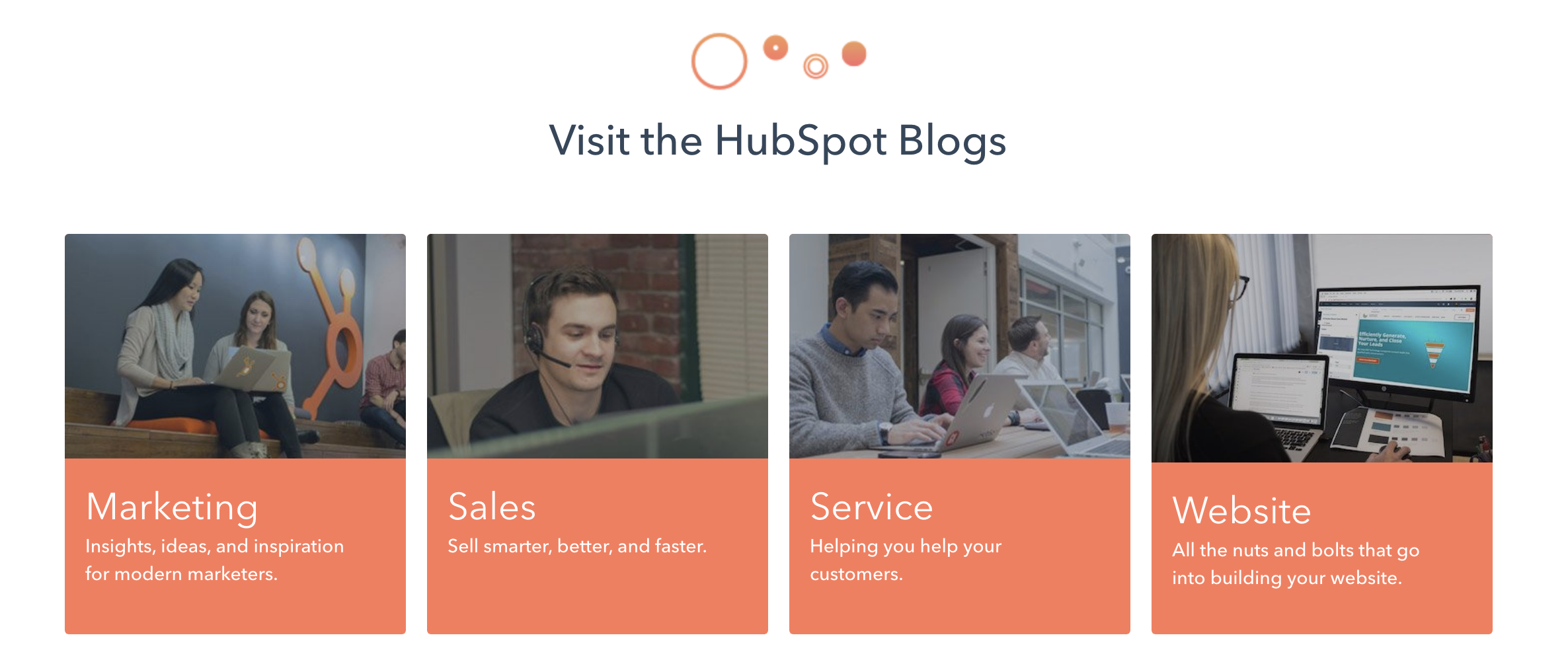 Example of how other websites (e.g. Hubspot) choose to categories their blog articles